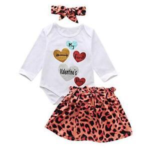 Baby Romper My First Valentines Day Newborn Leopard Dress with Headband 100