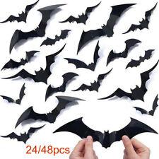 24/48 X 3D Bats Wall Stickers Halloween Decorations Plastic Black Bat PVC Decal