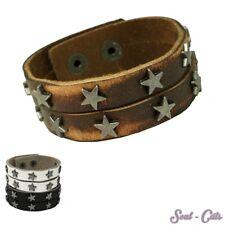 Ein trendiges Armband mit Schnalle Leder schwarz weiss braun Sterne Nieten