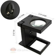 Illuminated Linen Magnifier 3x LED Glass Lens Hands-Free Table Top Magnifying