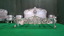 UK  Super King size  SILVER LEAF  Hand carved fr mahogany solid wood Rococo Bed
