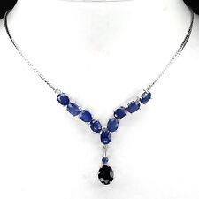 Collier Saphir blau 925 Silber 585 Weißgold
