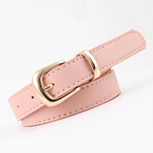 Women Gold Silver Alloy Pin Buckle PU Leather Belt Wild Dress Jeans Waistband B0