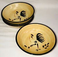 """4 Pennsbury Pottery BLACK ROOSTER 5""""  DESSERT BOWLS"""