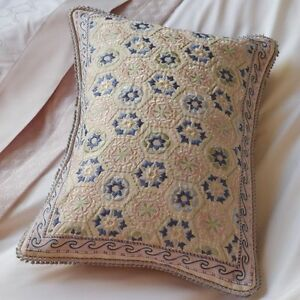 Neuf Sferra Lollia Oreiller Décoratif Italie Coton Lin Rose Vert Bleu Pastels