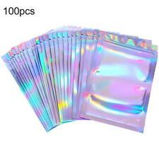 New listing 100pcs Holographic Rainbow Laser Foil Heat Seal Zip Lock Pouch Bags Beauty strtb