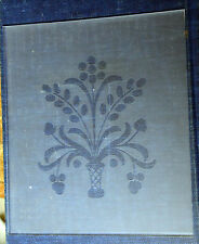 Etched Flower Basket Pattern Lower Glass, Steeple Clock, Beehive size