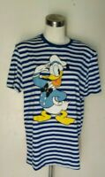 NEW Disney donald duck Tee Junior's Short Sleeve T-shirt in Blue striped size L