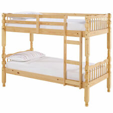 Solid Pine Finish Childrens Kids Wooden Bunk Bed Frame | Single 3ft