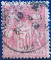 France oblitéré, n°104, 50c rose, Sage type 1, 1900
