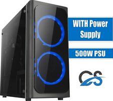 MICRO ATX CS Twin Black PC Gaming Case Blue LED fan with 500W Builder PSU