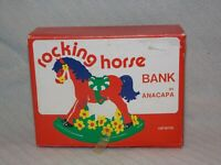 Vintage Rocking Horse BANK BY ANACAPA, Ceramic, New Old Stock in original box