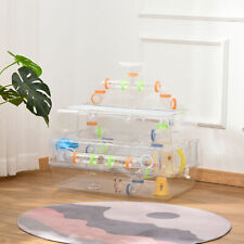 Transparent Gerbil Kennel for Travel, Comes with Exercise Wheel to Promote Play