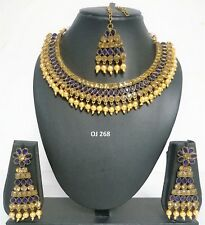 Cz Necklace Earrings Sets Oj 268 Indian Fashion Jewelry Wedding Bollywood Pearl