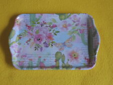 Ambiente 1x Tablett Rosen Kaktus Schmetterlinge Schrift Melamin 13 x 21 trays