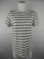 Ann Taylor LOFT Women sz S White Boat Neck Striped Short Slit Sleeve Blouse Top