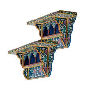 Set of 2 Painted Moroccan shelf, Wall Shelves Floating Shelves Blue,