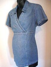 Oh Mamma by Motherhood Maternity Top Sz. Large Blue Denim Short Sleeves #564