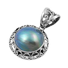 Round Mabe Pearl Pendant Sterling Silver 925 Created Stone Jewelry Gift 31 mm