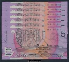 Australia $5 Fraser Evans Narrow Bands Consecutive Run of 6 Unc Mc303c-R217b
