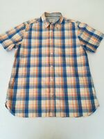 "Men's WHITE STUFF shirt Large chest 44"" short sleeves embroidered logo chest poc"