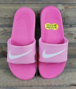 Youth Girls Nike Kawa Psychic Pink/White Logo  Slides NIB