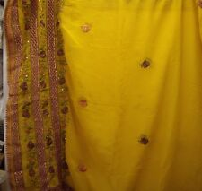 Vintage Ochre Dupatta Indian Scarf Embroidered Sarong Veil Stole Hijab