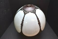 """ATQ 13"""" VICTORIAN ART NOUVEAU CURVED SLAG STAINED GLASS LAMP SHADE WHITE 6 Panel"""