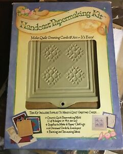 Handcast Brown Bag  Papermaking Kit Quilt Amish Star Greeting Cards - new in box