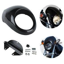 Nero Carenatura Cupolino Faro Headlight Cowl Per Harley Sportster Dyna FX XL