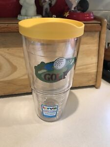 Golf Theme Wrapped Tervis Tumbler 24 Ounce Glass With Lid Hot Or Cold Beverages