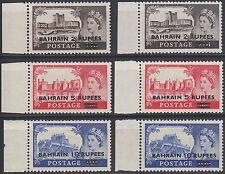 Bahrain 1955 ** Mi.96/98 SG 94/96 (2 types) Definitives Castles ovpt. GB [b474]
