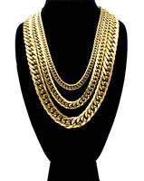 Cuban Link Chain Necklace Stainless Steel 18k Gold Plated Double Link for Men