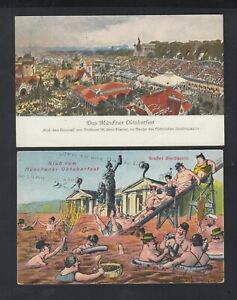 """Lot AK München """"Gruß vom Münchener Oktoberfest"""" 1927 gelaufen 2 Stück aus Nachla"""