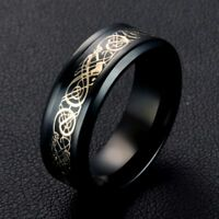 Celtic Dragon Black And Gold Stainless Steel Unisex Ring