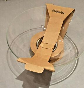 Ikea Fjarran Blown Glass Bowl with Metal Stand Base New Handmade Franz James