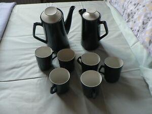 VINTAGE BESWICK -  COFFEE SET  - PETROL BLUE AND WHITE