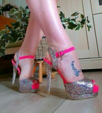 f2b20bea43 New LIPSY hot Pink And Multicolour Glitter High Heels Uk6 / Eu39