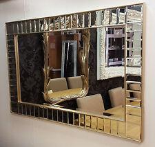 ART DECO Rectangular Todo Vidrio Pared Espejo Biselado champán Marco 91x61cm