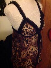 Camille Sexy Seductive Nightwear Gold Leopard Babydoll Nightie. Size M/L 14 New