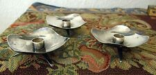 3-1950'S DENMARK MODERNIST SILVER PLATE MINIATURE FOOTED CANDLE HOLDERS B-90