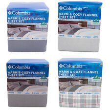 Columbia 4 Piece Warm and Cozy Flannel Size Queen King Sheet Set MSRP $119- $139
