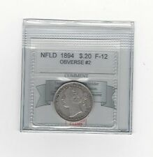 **1894 Obv.#2**,Coin Mart Graded, Newfoundland 20 Cent, **F-12**