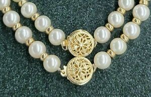 14K Solid Yellow Gold & Genuine Pearl Necklace Bracelet Set - 24.4 Grams