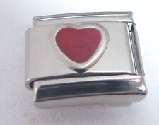 RED LOVE HEART Italian Charm - JULY Birthstone fits Classic Bracelets 9mm