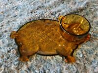 Vintage Indiana Glass Tiara Amber Glass Pig Snack Plate With Cup