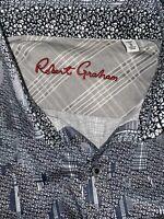 Robert Graham Men's Small Gray Pattern Button down shirt Short Sleeve Size Small