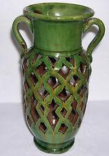 Vintage Gongora-Ubeda Espagne-classio Twin manipulés Pottery Vase-Green Glaze
