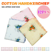 12Pcs Vintage Style Floral Flower Bird Handkerchief Lady Women Kids Cotton Hanky
