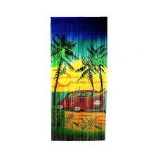 Bamboo Beaded Curtain Room Divider Tropical Car Scene Door Wall Hanging Panel